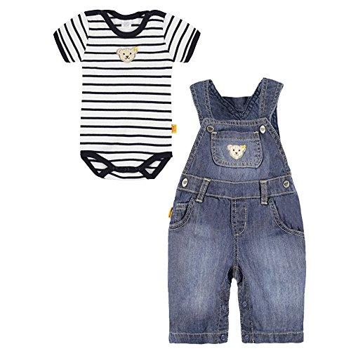 Steiff Baby 2-Teiler Little Pirat, Jeans-Latzhose mit Ringel-Body (68 = 6 Monate)