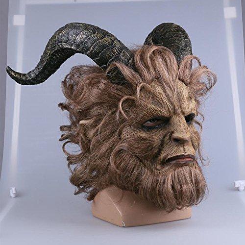 Einfach Kostüm Mörder - Die Schöne und das Biest Ultra Prestige Biest Maskcosplay Party Halloween Latex Maske (Langes Haar),M