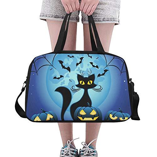 Plsdx Halloween böse Katze mit Kürbis benutzerdefinierte große Yoga Gym Totes Fitness Handtaschen Reise Seesäcke mit Schultergurt Schuhbeutel für Übung Sport Gepäck für Mädchen Herren Damen Outdoor