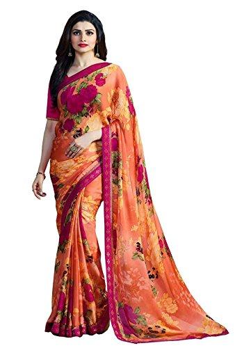 Shivalika Tex Women's Georgette Saree With Blouse Piece (Sitara Orange_Orange)