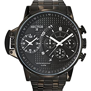 Hector H 667126 - Reloj analógico de cuarzo para hombre, correa de acero inoxidable color negro de Hector H
