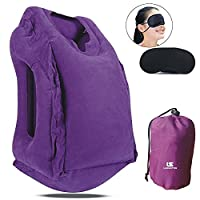 Travel Air Pillow Fast Inflatable Pillow Cushion+Bonus Eye Sleep Mask, Multi-functional Portable Travelling Pillow with Head Support for Airplanes ,Camping ,Car,Train,Home& Office Napping for Mother Day Gifts By LAMASTON
