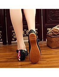 ZLL Scarpe ricamate, suola a tendina, stile etnico, scarpe da donna, moda, comodo, casual all'interno dell'aumento , blu , 39