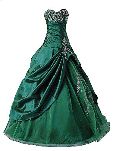 Vantexi Frauen Taft Liebsten Abendkleid Ballkleid Partykleid Smaragd Größe 42 (Grün Partykleid Smaragd)