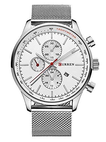 Curren–Reloj analógico cuarzo pulsera malla Milanaise acero inoxidable hombre mujer multifunción