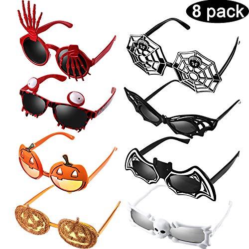 8 Stücke Halloween Party Brillen Spaß Halloween Fotoautomat Requisiten, Lustige Brille Kostüm Zubehör für Halloween Party Gefälligkeiten, Neuheit Party Lieferungen Dekoration