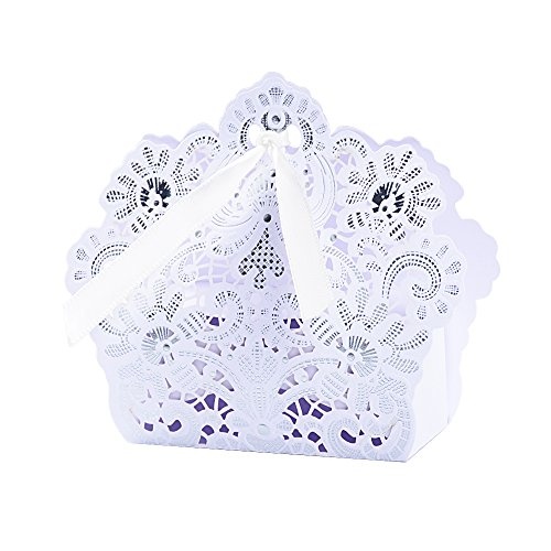 Buondac 50 pz scatole portaconfetti bianco bomboniere carta scatoline regalo segnaposto decorazioni per festa matrimonio battesimo compleanno