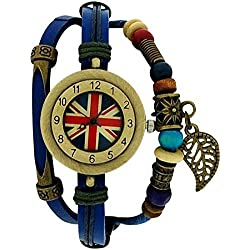 Medley Union Jack Dial Blue Leather & Cord Beads Watch Pull Closure MED03