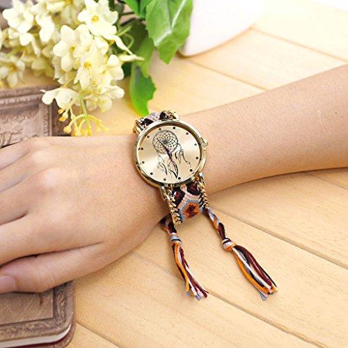 JSDDE Uhren,Damen Ethnisch Dreamcatcher Traumfaenger Freundschaft Braid Armbanduhr gewebte Seil Band Quarzuhr,Orange+Schwarz - 3