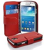 Cadorabo Samsung Galaxy S4 Mini Custodia di Libro di Finta-Pelle Struttura in Rosso Cremisi - con Vani di Carte e Chiusura Magnetica - Portafoglio Cover Case Wallet Book Etui Protezione