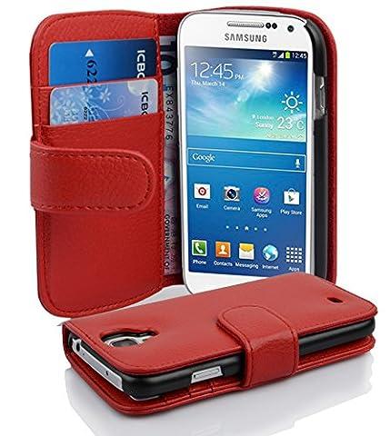Cadorabo - Etui Housse pour Samsung Galaxy S4 MINI (I9195) - Coque Case Cover Bumper Portefeuille (avec fentes pour cartes) en ROUGE CERISE