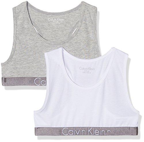 Calvin Klein Mädchen Bustier 2 Pack Bralette, Mehrfarbig (1 Grey Heather / 1 White 033), 152 (Herstellergröße:12-14) (Kleine Shirt Mädchen)