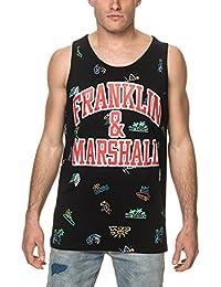 Franklin & Marshall Men's Men's Sleeveless Black T-Shirt 100% Cotton