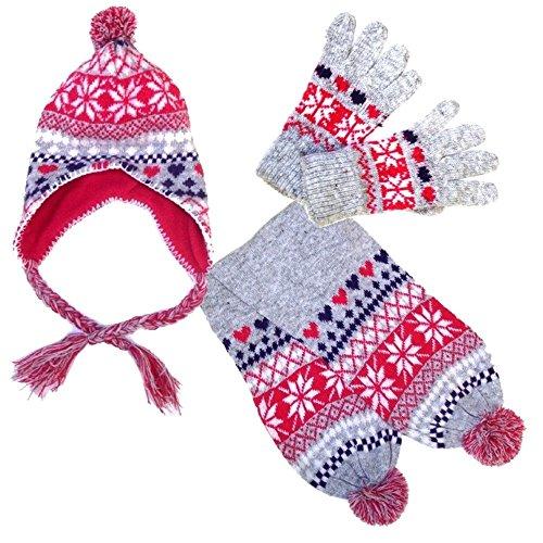 Step In Kinder Norweger Strickset mit Mütze Schal und Fingerhandschuhen, 4921-SET, grau melange/fuchsia/viola, Mütze Gr. 50/52 & Handschuhe Gr. 4