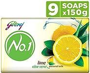 Godrej No.1 Bathing Soap Lime & Aloe Vera, 150g (Pack o