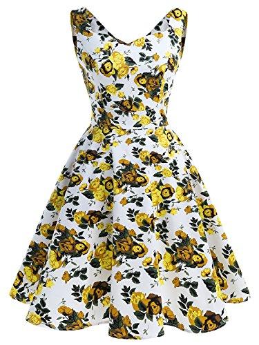 IVNIS RS90031 Damen 50er Vintage Kleid Retro A-Linie Ärmellos Rockabilly Floral Abendkleider mit Taschen Gelbe Blumen L