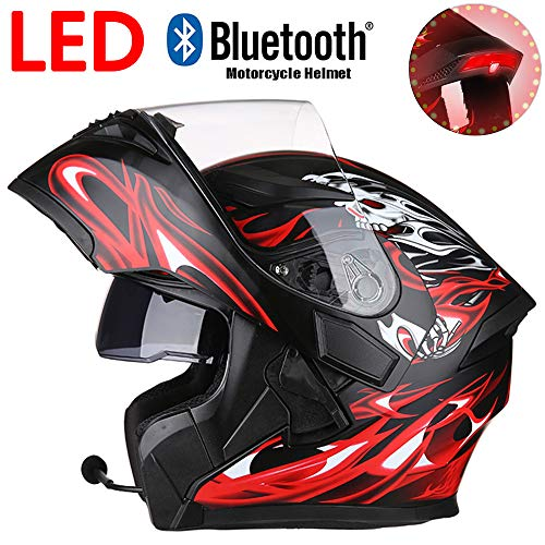 LED Cool Ghost Rider Fiamma Moto Casco Bluetooth, Anteriore Flip Doppia Lente Anti-Nebbia E Anti-UV off-Road Casco Integrale, DOT Certificato Protettivo cap,XXL:60~61cm