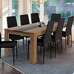 IDMarket - Table à Manger Georgia 8 Personnes hêtre et Noire 160 cm