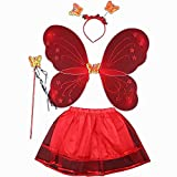 FJROnline Fee Prinzessin Schmetterling Engel Kostüm Set für Baby Mädchen, Tutu Rock, Light Butterfly Fairy Flügel, Zauberstab, Fee Haarband für Karneval Kostüm Cosplay - 4 in 1