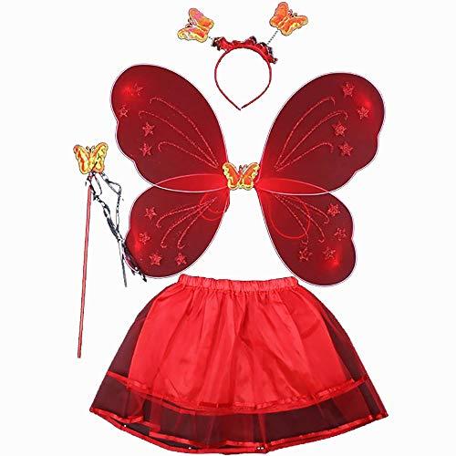 ZN Fee Prinzessin Kostüm Kostüm Schmetterling Kostüm-Outfit-Set, Tutu-Rock, Flügel, Zauberstab und Stirnband für Kinderparty Cosplay Kostüm verkleiden Sich (Rot)