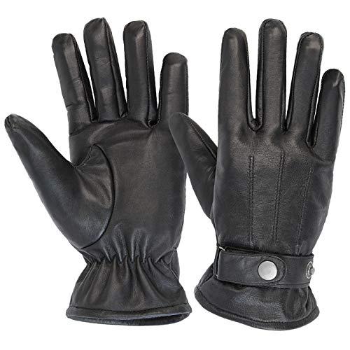 ALPIDEX Guanti invernali in pelle da uomo, disponibili in varie taglie, Taglia:M, Colore:black