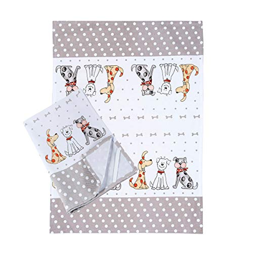 Küche Geschirrtücher Handtuch Küchentücher 2er-Set Weiß Qualität Baumwolle Hunde Design 50x70 cm Geschenk für Köche Tier Hund Liebhaber Set of 2 Cotton Kitchen Tea Towels Gift for Dog Lover -