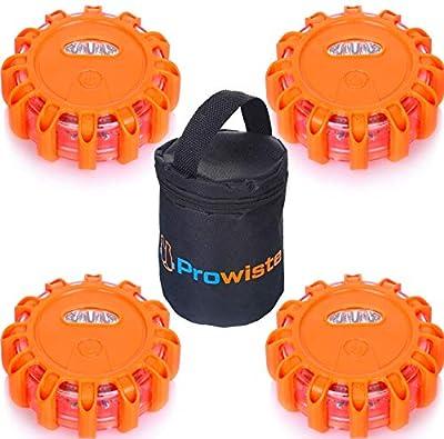 4er Warnleuchte Warnlicht Set mit Extra hellen LED & Magnet | Wasserdicht - Bruchsicher | Warnblinkleuchte für Auto/Lkw
