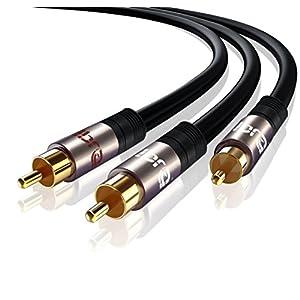 Extra Fino y Flexible deleyCON 2m Cinch Extensi/ón Cable Audio Alta Fidelidad RCA Cable de Audio Extensi/ón Conector de Metal Dorado para Amplificador Sistema Est/éreo Cine en Casa Reproductor