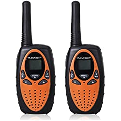 FLOUREON 2X Walkie-Talkies (Pantalla LCD, 8 Canales, 2-Way Radio, Alcance hasta 3 Km), Color Naranja