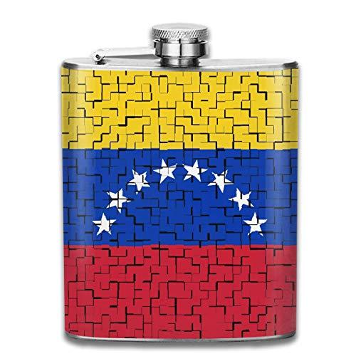 Miedhki Venezuela Flag Puzzle 7 Unzen Edelstahl Flachmann
