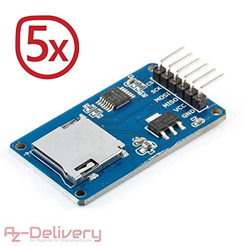 AZDelivery ⭐⭐⭐⭐⭐ 5 x SPI Reader Micro Speicher SD TF Karte Memory Card Shield Modul für Arduino mit gratis eBook! (Arduino-speicher)