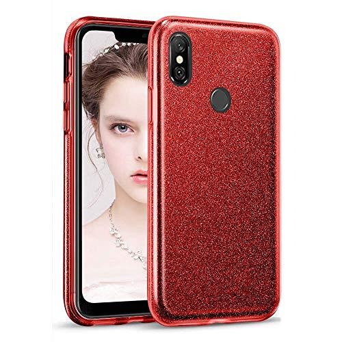 """Coovertify Funda Purpurina Brillante Red Rose Xiaomi Redmi Note 6 Pro, Carcasa roja Resistente de Gel Silicona con Brillo Rojo Rosa para Xiaomi Redmi Note 6 Pro (6,26"""")"""
