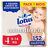 Lotus Baby Natural Touch  - Culottes Taille 4 (9-14 kg) - lot de 4 packs de 38...