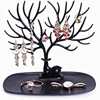 FairytaleMM Portable Practical Wood Multiolor Display Organizer Holder Show Rack Jewelry Necklace Ring Earring Tree Stand Stock Offer,multicolor