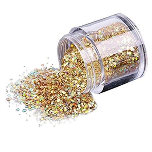 VENMO 10g / Box Gold-Silber Nagel Glitzerpulver Shinning Nagel Spiegelpulver,Gold Gold-silber-nagellack