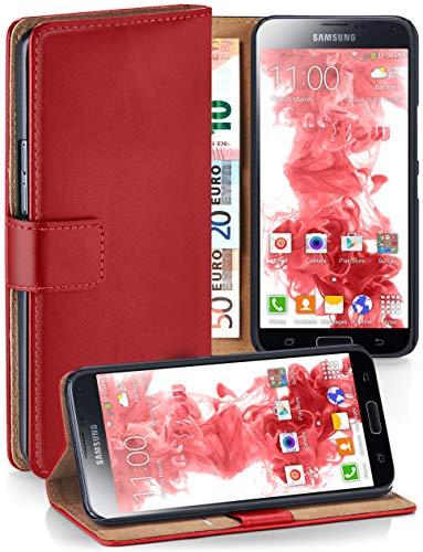 moex Booklet mit Flip Funktion [360 Grad Voll-Schutz] für Samsung Galaxy S5 Mini | Geldfach und Kartenfach + Stand-Funktion und Magnet-Verschluss, Rot
