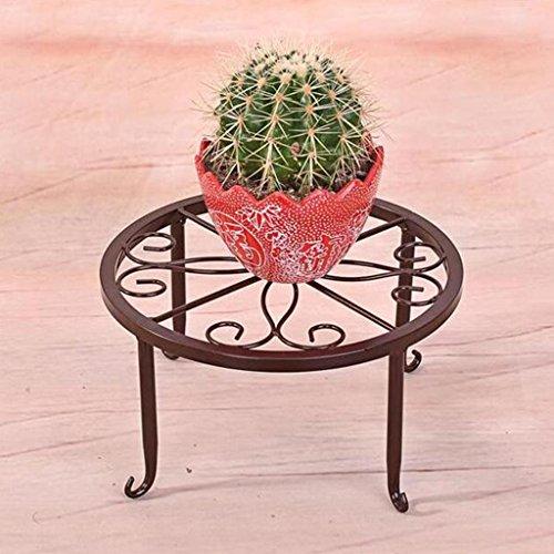 Support de fleur de bois ---- Noir / Cannelle / Blanc Style Européen Fer Round Bureau Support De Fleurs Au Sol Petit Tore Porte-pot Balcon Stand De Plantes Cymbidium 25 * 25 * 12 Cm --- Veuillez vous référer à la description ( Couleur : Cannelle )