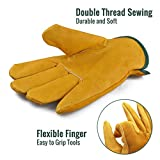 EINSKEY Leather Work Gloves, 2 Pairs Thorn Proof Gardening Gloves, Heavy Duty Rigger Gloves for Gardening, Fishing, Construction and Restoration Work & More (Medium)