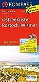 Ostseeküste - Rostock - Wismar: Fahrradkarte. GPS-genau. 1:70000: Fietskaart 1:70 000 (KOMPASS-Fahrradkarten Deutschland, Band 3018)