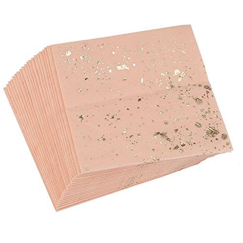 REFURBISHHOUSE Ensemble de Vaisselle jetable de Texture de marbre Rose de Blocage dor Serviette en Papier Fournitures de Table Carnaval de Mariage de Fete Serviette en Papier jetable