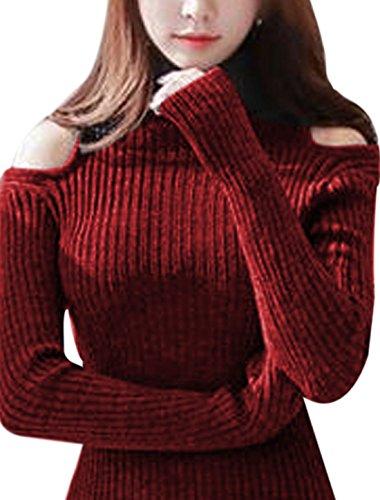 Femme Tortue Cou Manches Longues Épaule Ajourée Tricot Long Robe Rouge