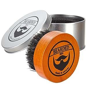 BEARDED BEN brosse à barbe avec des poils de sanglier et une boite de rangement de haute qualité pour un soin de la barbe professionnel ( brune, diamètre : 5 cm) | 2 ans de garantie de satisfaction