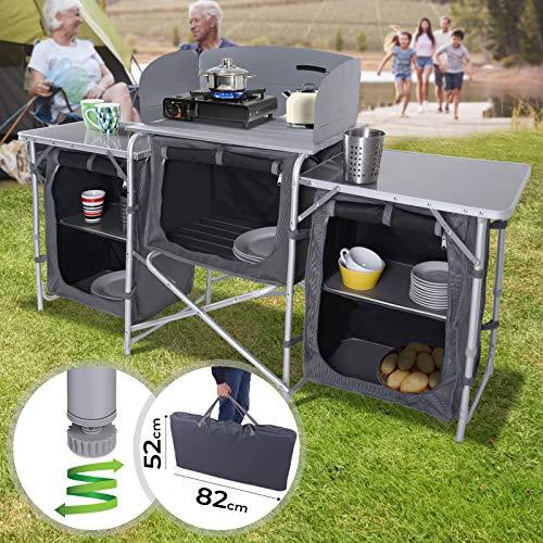MIADOMODO Campingküche | Aluminium, 5 Fächer, Windschutz, faltbar, Schwarz-Grau, inkl. Tragetasche | Campingschrank, Reiseküche, Alu Küchenbox, Zeltschrank