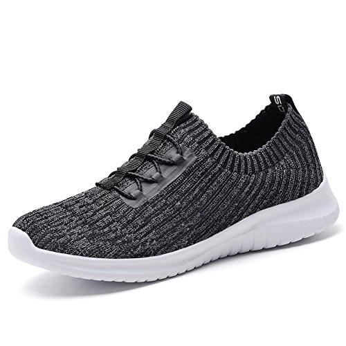 TIOSEBON Women's Lightweight Fashion Running Trainers Breathable Stretch Slip-On Flats Walking Gym Shoes 6 UK Dark Gray
