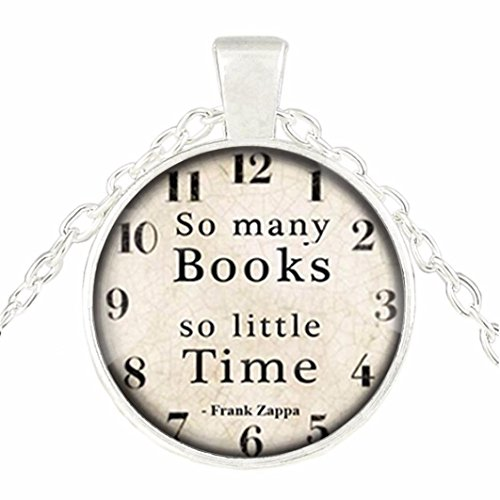 Best Friend Christmas Gift,DIKEWANG Fashion Book Lover Gifts '' So Many Books, So Little Time '' Clock Art Sweater Chain Accessory Jewelry Decoration