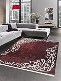 Carpetia Waschbarer Teppich Print Teppich Küchenteppich dunkelrot Bordeaux Ranken Muster Größe 80 x 300 cm