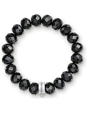 Thomas Sabo Damen-Armband Charm Club 925 Sterling Silber Nylon Obsidian Schwarz Länge 14.5 cm X0035-023-11-S