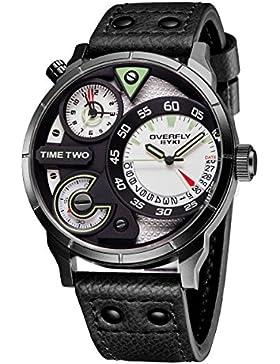 Alienwork Quarz Armbanduhr sport Uhr Herren Uhren Multi Zeitzonen Design Polyurethan weiss schwarz YH.E3065L-01