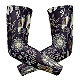 Montoj Classic Dark Flower Pattern Sonnenschutz Sleeves Cover Up Arm Cooling Sleeve
