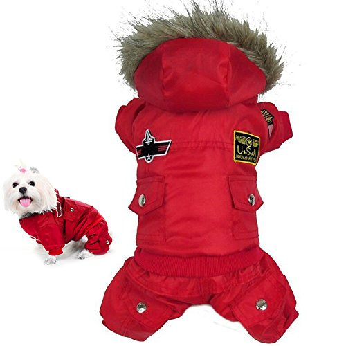 Warme Winter Hund-Mantel-Jacke USA AIR FORCE wasserdichte Haustier hoody Kleidung, Red-L